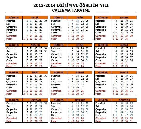 2013.-2014 Çalışma Takvimi