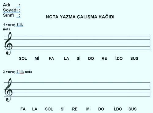 Nota yazma çalışma kağıdı 2